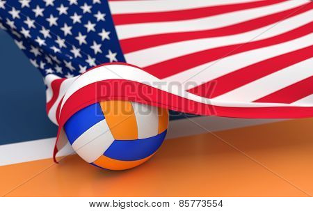 Flag Of Usa With Championship Volleyball Ball