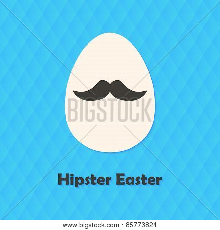 Hexagonal Greeting Card With Hipster Easter Egg With Mustache