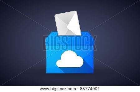 Blue Ballot Box With A Cloud