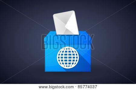 Blue Ballot Box With A World Globe