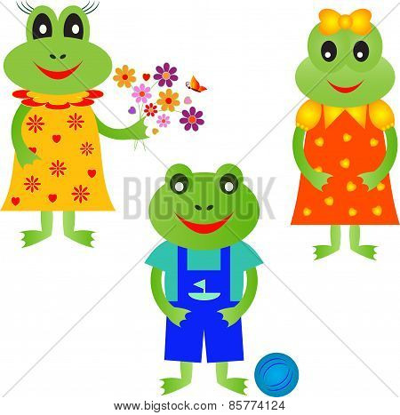 Isolated Frog Vectors, Frog Cartoons, Frog Illustrations