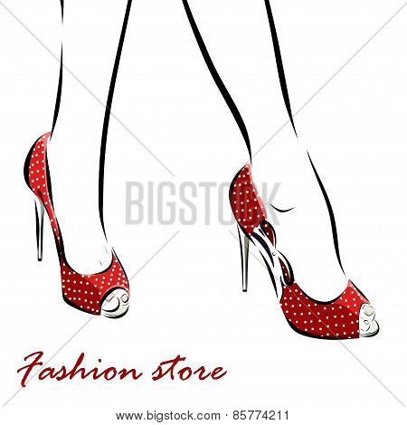 Illustration with legs of woman in fashion summer red shoes