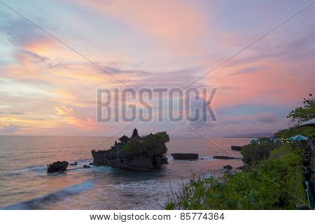 Sunset View Of The Temple Pura Tanah Lot From The Coastal Cafe