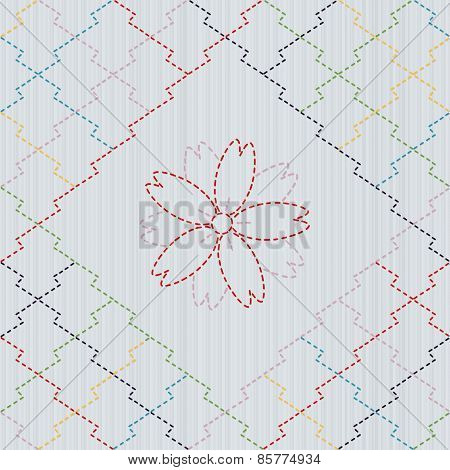 Traditional Japanese Embroidery Ornament with sakura flower. Sashiko. Vector seamless pattern.
