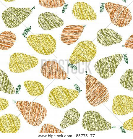 Seamless pear texture. Endless fruit background. Vector. Harvest ornament.