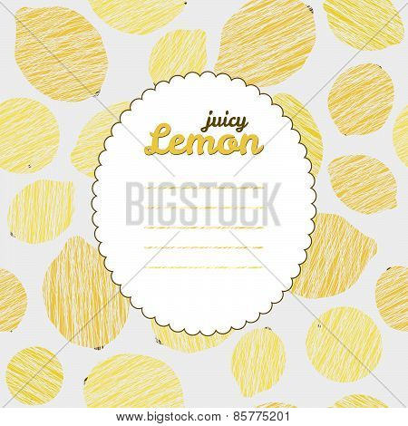 Text frame. Repeating fruit background, seamless lemon texture. Summer citrus backdrop.