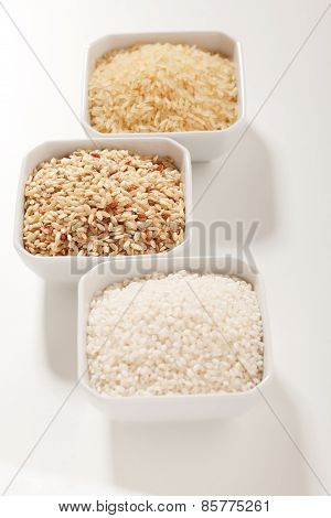 Row Rice In Three Variation - White, Integral And Yellow