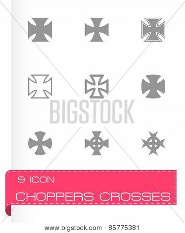 Vector black choppers crosses icon set