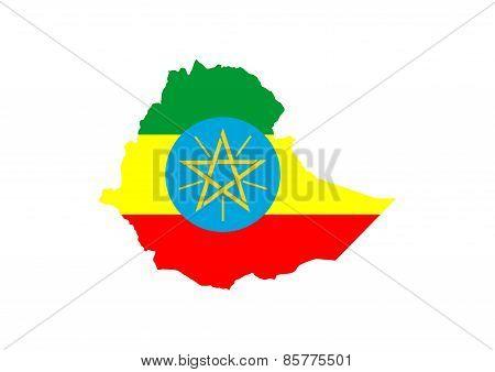 Ethiopia Flag Map