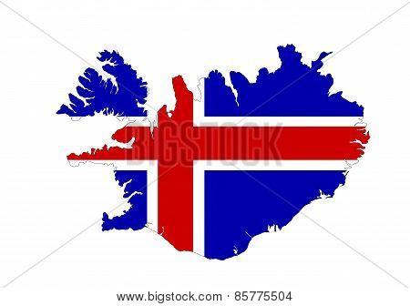 Iceland Flag Map