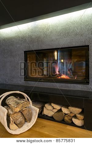 Close-up Of Modern Fireplace