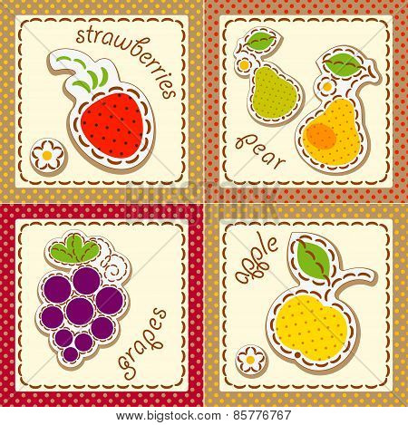 set cards with fruit