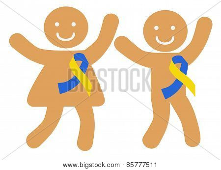 Happy Children With Ribbons Symbolizing Down Syndrome