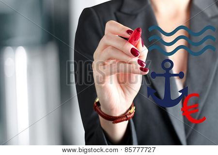 Businesswoman  Drawing  A Sign Of Sinking Euro Hanging On  An  Anchor