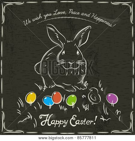 Rabbit And Easter Colored Eggs On Grunge Brown Background And Inscription With Text Happy Easter.