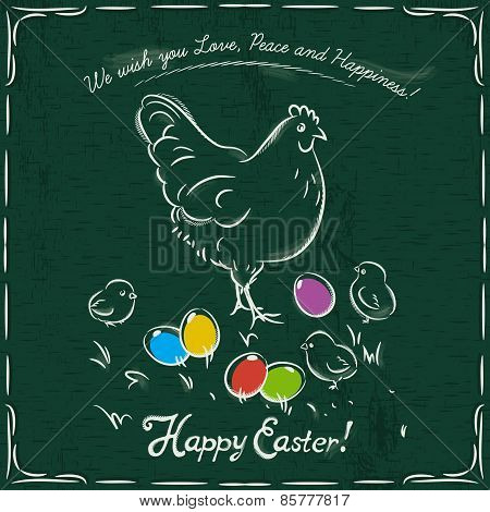 Hen And Easter Colored Eggs On Grunge Green Background And Inscription With Text Happy Easter.