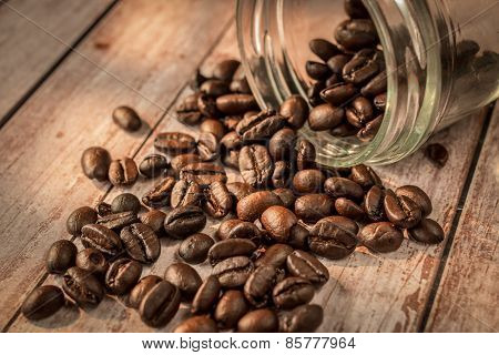 Coffee Beans Out From Glass