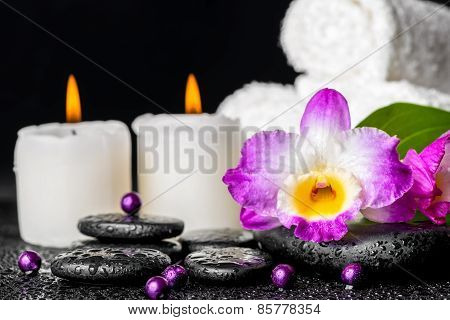 Spa Background Of Purple Orchid Dendrobium, Leaf With Dew, Towels, White Candles And Pearl Beads  On