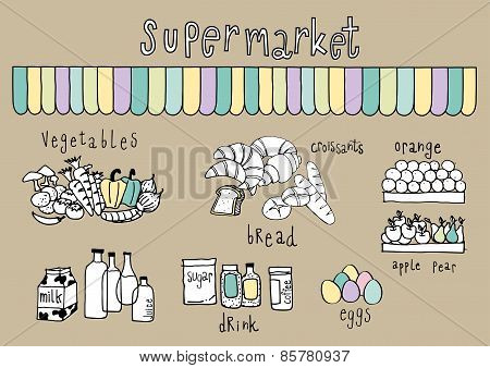 Supermarket Doodle Brown Background
