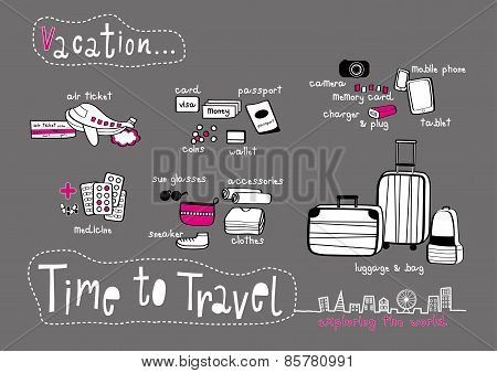 Time To Travel Doodle Dark Grey Background