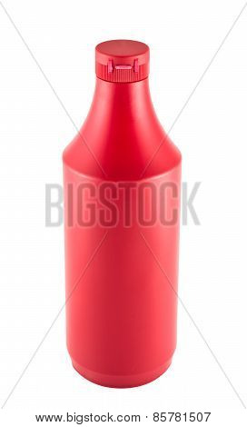 Ketchup souce platic bottle over white background