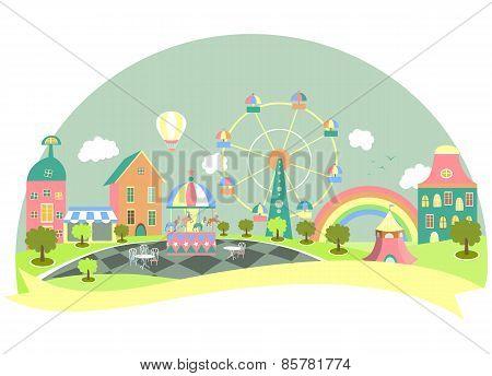 Amusement park in flat style
