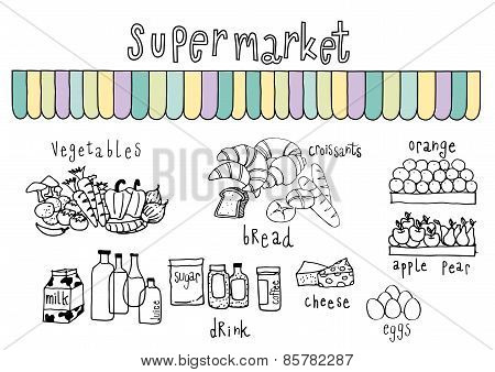 Supermarket Doodle White Background