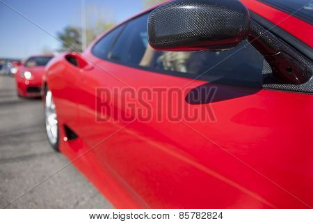 Red Sports Car Wing Mirror