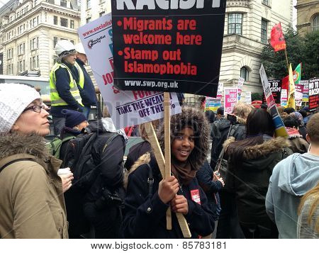 Young anti-racism demonstrator, London