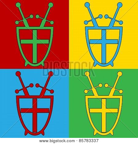Pop Art Shield And Swords Symbol Icons.
