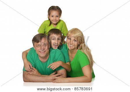 Nice family in bright