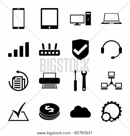 Computer repair service icons set monochrome
