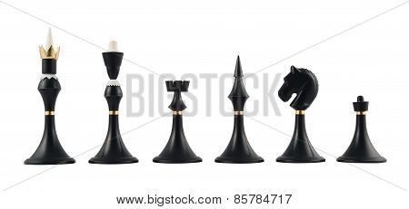 Set of black chess figures isolated