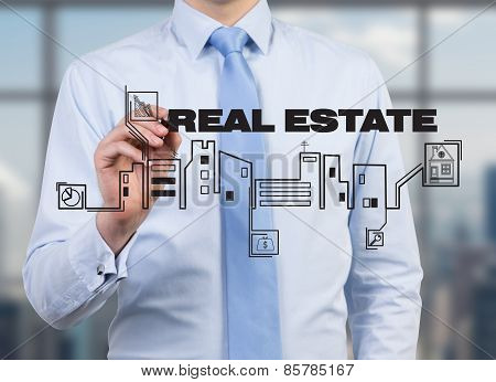 Businessman Drawing Real Estate