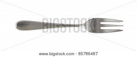 Steel metal dessert fork isolated