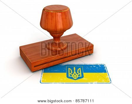 Rubber Stamp Ukrainian flag (clipping path included)