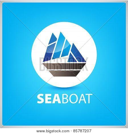 vector sea boat, ship icon, illustration