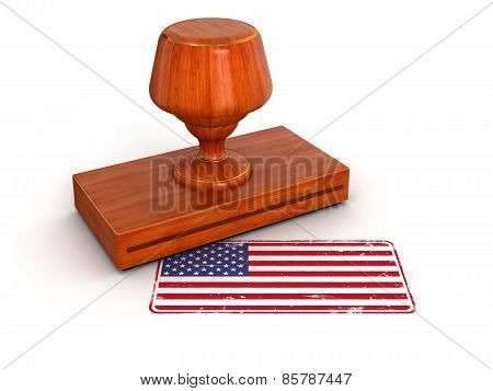 Rubber Stamp US flag (clipping path included)