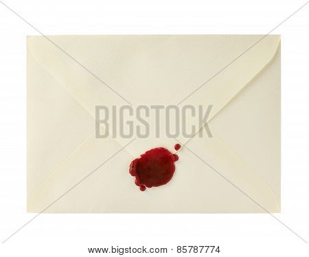 Envelope closed with a sealing wax