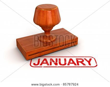 Rubber Stamp January (clipping path included)