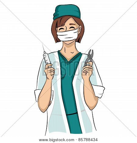 Sexy dentist woman holds syringe and tongs