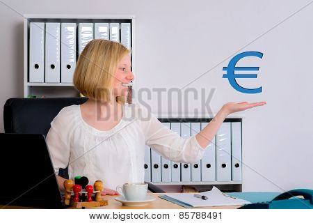 Young Business Woman With Euro Sign
