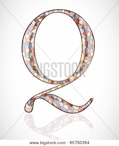 Abstract letter Q.