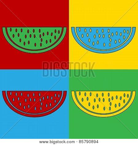 Pop Art Watermelon Symbol Icons.