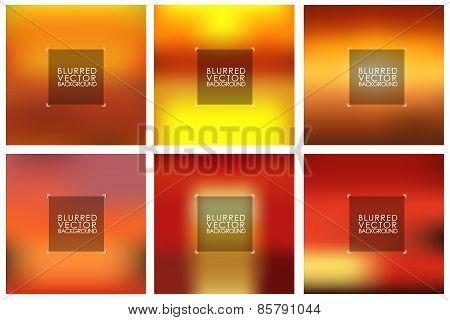Set Of Vector Orange Blurred Backgrounds