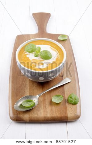 Sweet Potato Soup With Cream And Basil