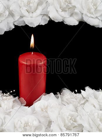 Mourning candle and roses composition