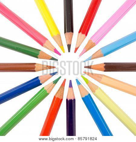 slim crayons radial arrangement