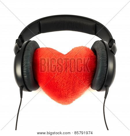 Headphones put on a plush heart
