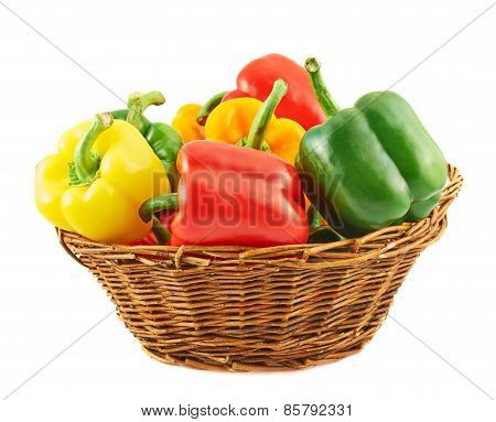Wicker basket full of bell peppers